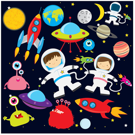 Astronaut in space clipart background banner free Space clipart - astronaut clip art, UFOs, aliens, spaceships ... banner free