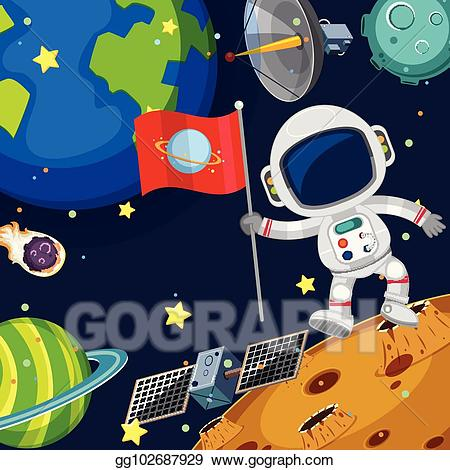 Astronaut in space clipart background free library Vector Stock - Background scene with astronaut in space. Clipart ... free library
