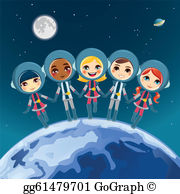 Astronaut kid clipart free clip black and white stock Astronaut Kid Clip Art - Royalty Free - GoGraph clip black and white stock