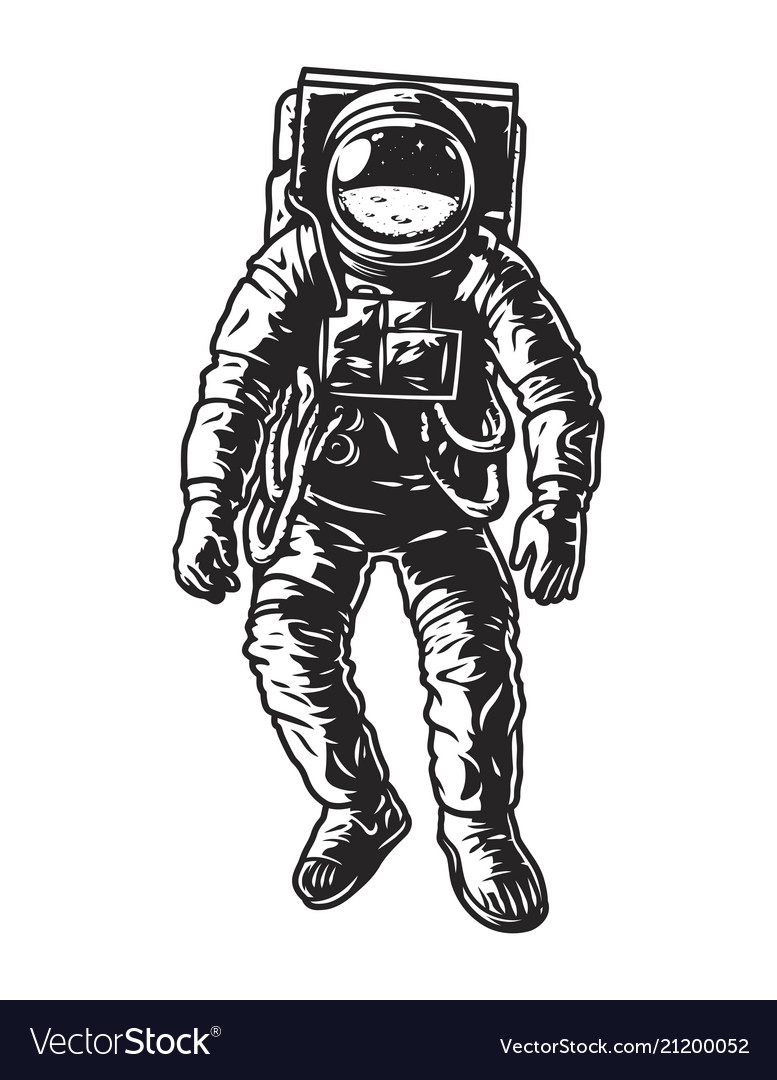 Astronaut vector clipart vector transparent library Vintage monochrome astronaut concept vector transparent library