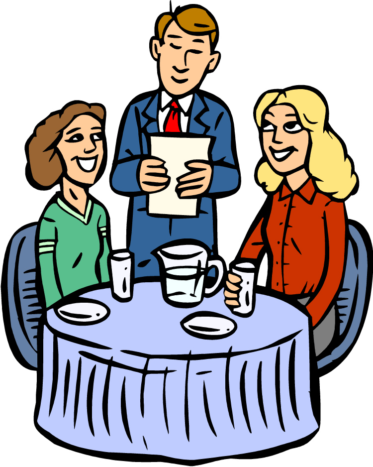 Man and woman at fine restaurant clipart
