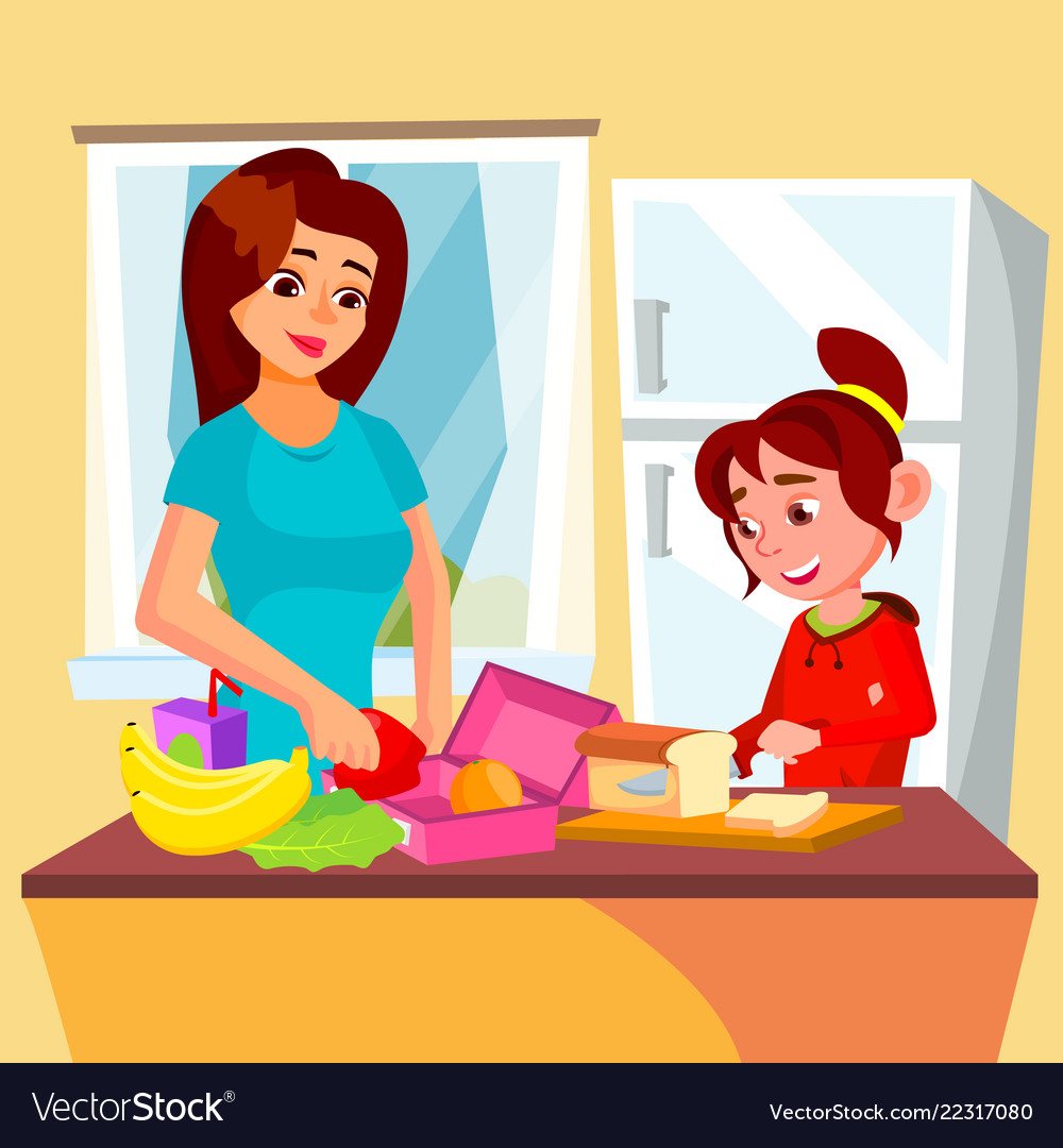 At the kitchen clipart clip freeuse library Little girl helping mother in the kitchen clip freeuse library