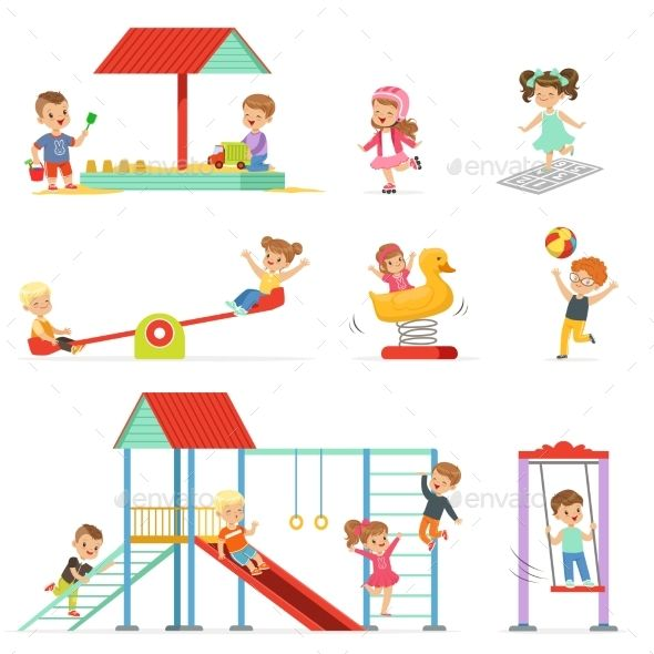 At the little playground clipart banner royalty free Cartoon Little Kids Playing and Having Fun | Fitness Vector in 2019 ... banner royalty free