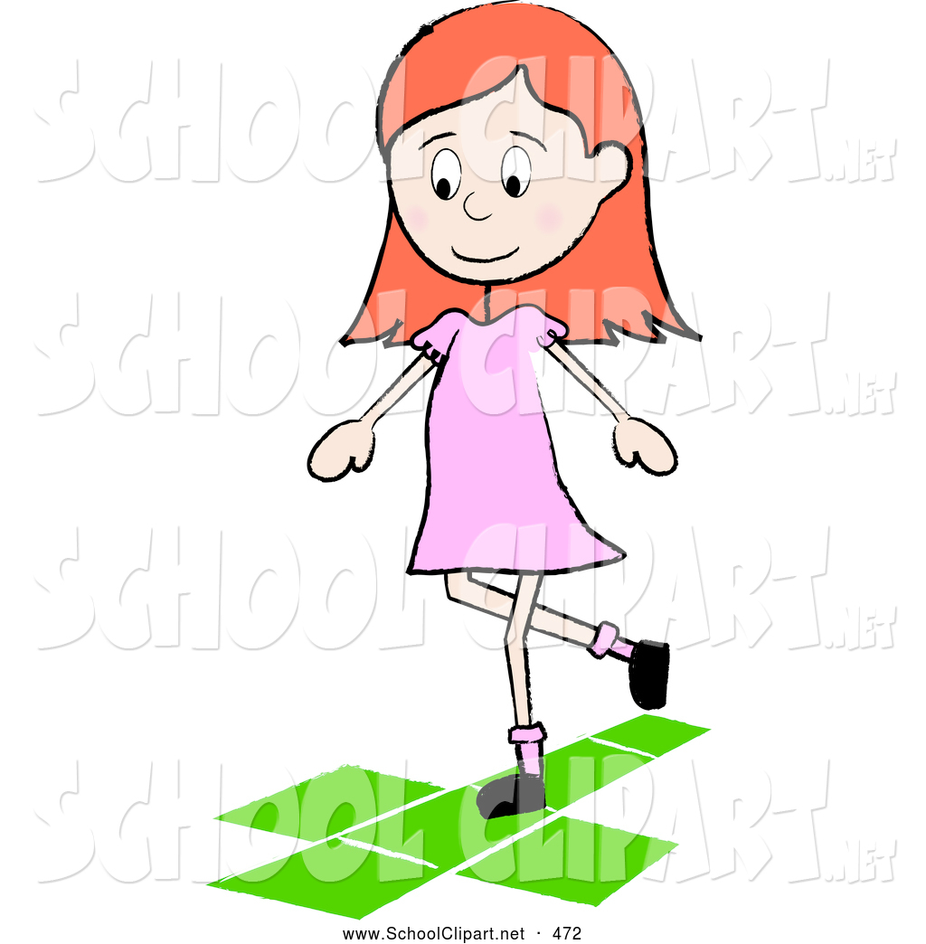 At the little playground clipart graphic royalty free Clip Art of a Cheerful Little Irish School Girl Playing Hopscotch on ... graphic royalty free