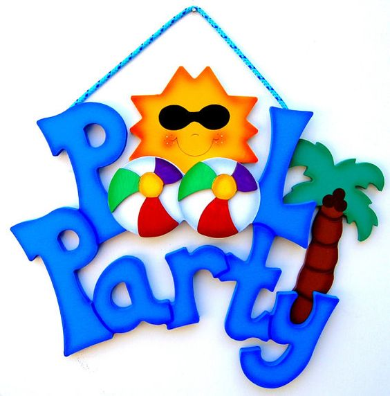 At the pool sign clipart