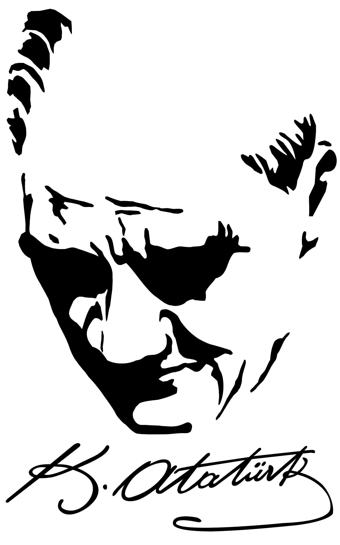 Ataturk imza clipart picture black and white download Atatürk Silüetli İmza   yalçın gravür cam işleme   Çizimler, Şablon ... picture black and white download