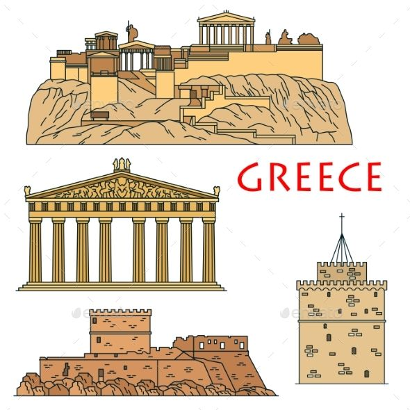 Athens architecture clip clipart png freeuse Ancient Greek Travel Landmarks Thin Line Icons   Γραφική σχεδίαση in ... png freeuse