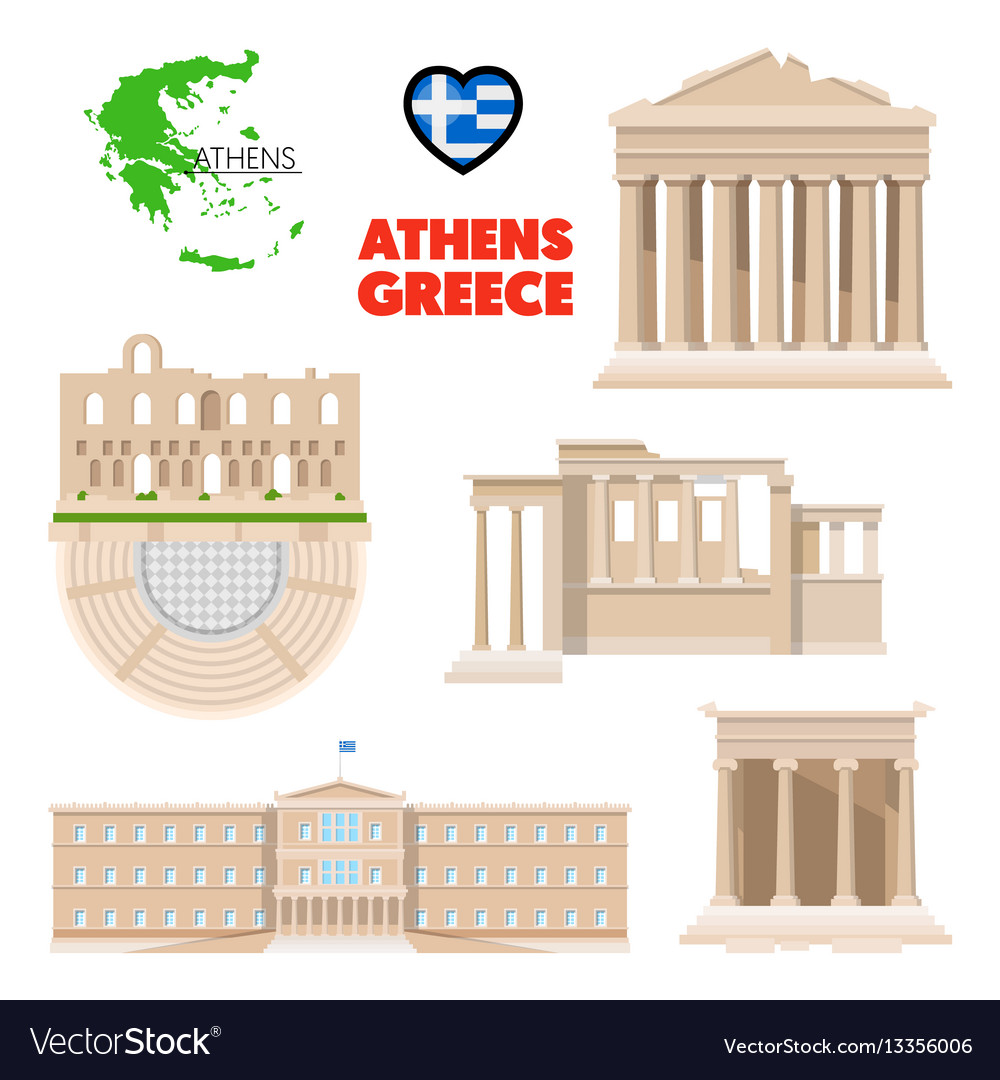 Athens architecture clip clipart vector library Greece athens travel set with architecture vector library