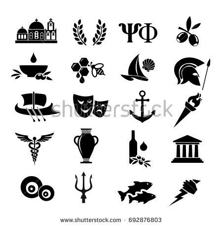 Athens greece clipart black and white image download white, black, greece, greek, icon, ancient, vector, culture, set ... image download