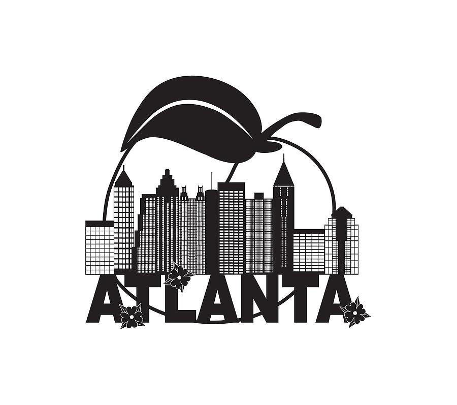 Atlanta skyline clipart png royalty free Atlanta Skyline Peach Dogwood Black White Text Illustration by Jit Lim png royalty free