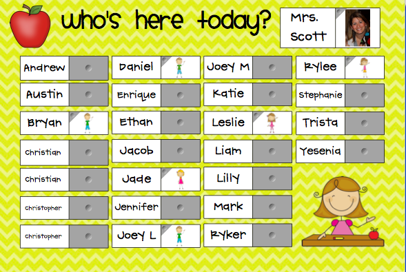 Chart kid first grade. Attendance sheet clipart