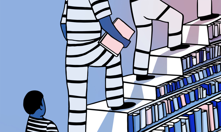 Students as prisoners in a school clipart