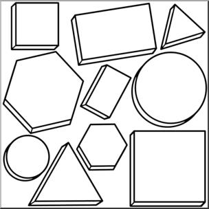Attribute blocks clipart clipart black and white Clip Art: Classroom Manipulatives: Attributes Blocks B&W | abcteach clipart black and white