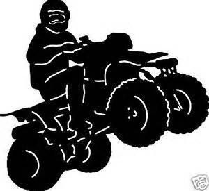 Quad decal vinyl removable. Four wheeler with flames clipart