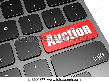 Auction computer in red clipart clip art black and white Stock Illustration of Auction with black keyboard k13601377 ... clip art black and white