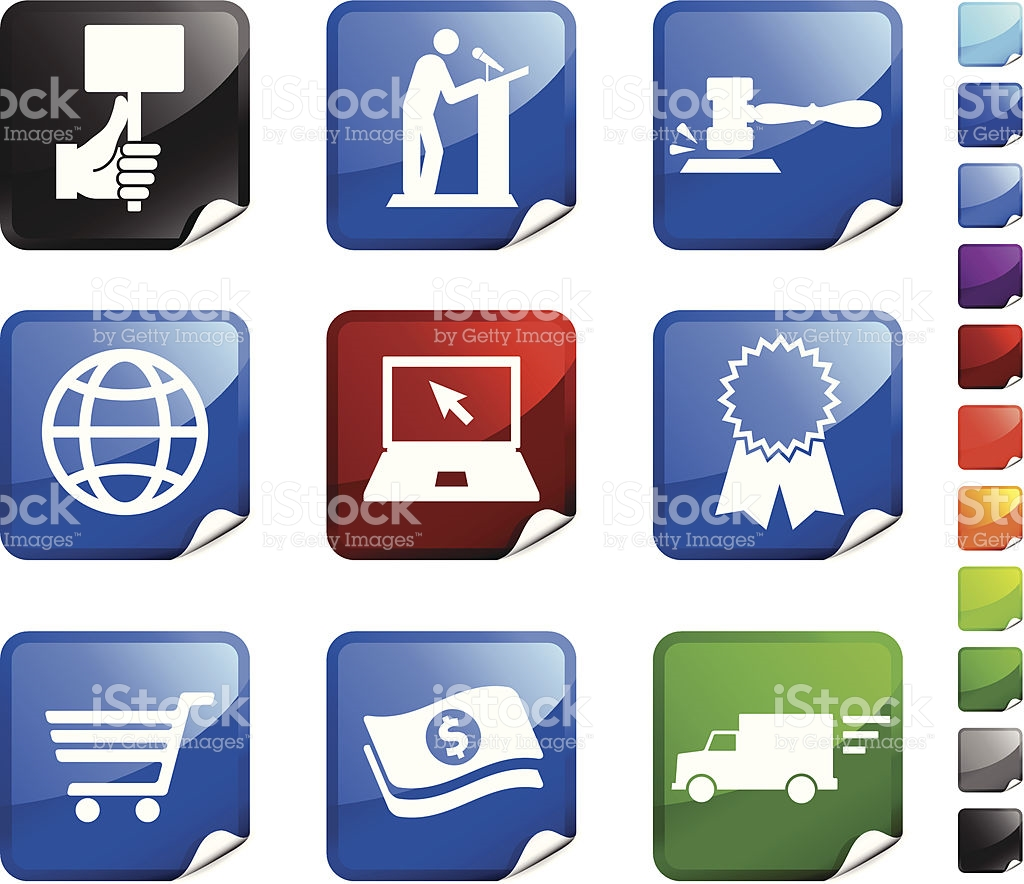 Auction computer in red clipart vector royalty free library Online Auction And Ecommerce Nine Royalty Free Vector Icon Set ... vector royalty free library