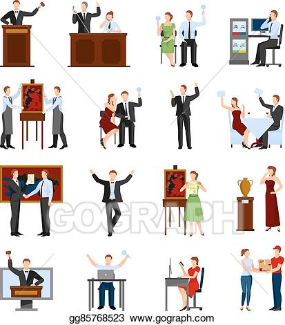 Auction with people clipart image free library EPS Illustration - Auction people flat icons set . Vector Clipart ... image free library
