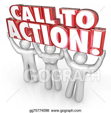 Call to action clipart picture library stock Stock Illustration - Call to action 3 people lift words response to ... picture library stock