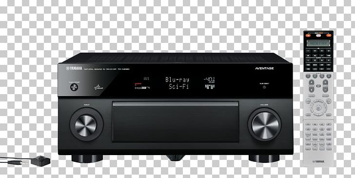 Audio receiver clipart png black and white AV Receiver Yamaha Corporation Audio Radio Receiver Surround Sound ... png black and white