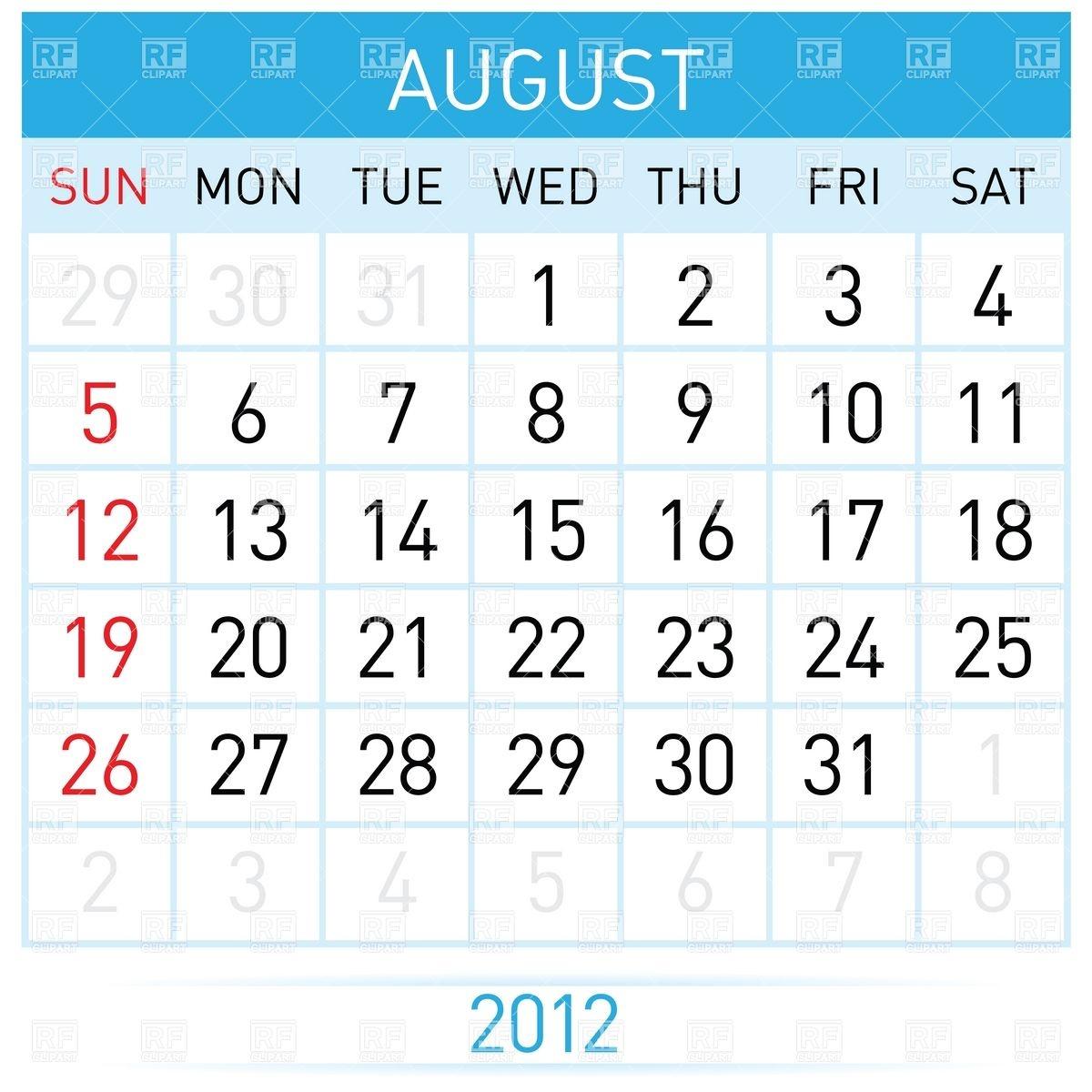 August 2012 calendar clipart vector free stock August 2012 calendar clipart - ClipartFest vector free stock