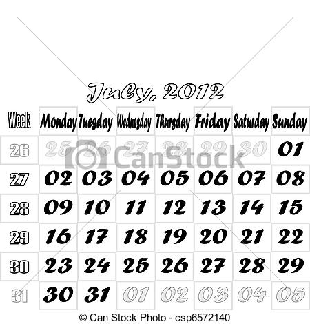 August 2012 calendar clipart black and white download Vector Illustration of August 2012 monthly calendar v.2 - Monthly ... black and white download
