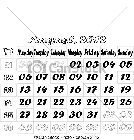 August 2012 calendar clipart clip art black and white stock Vector Illustration of August 2012 monthly calendar v.2 - Monthly ... clip art black and white stock