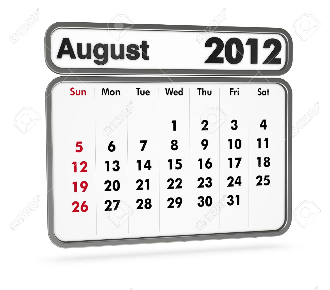August 2012 calendar clipart image library library August 2012 Calendar On White Background (3d Render) Stock Photo ... image library library
