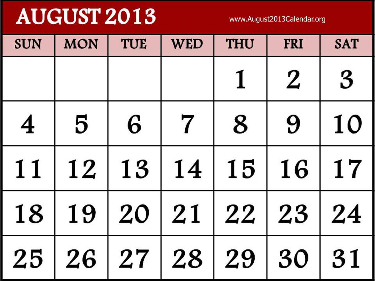 Clipartfest . August 2013 calendar clipart