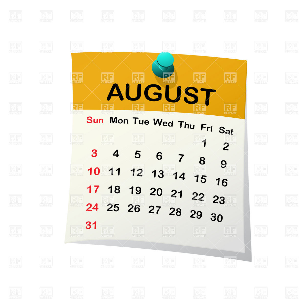 August 2013 calendar clipart clipart transparent download August Calendar Clipart - Clipart Kid clipart transparent download