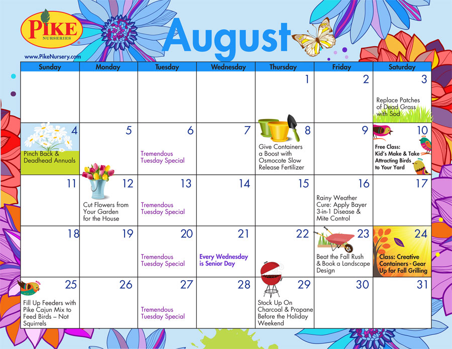 August 2013 calendar clipart graphic stock August 2013 Gardening Calendar / Pike Nurseries graphic stock
