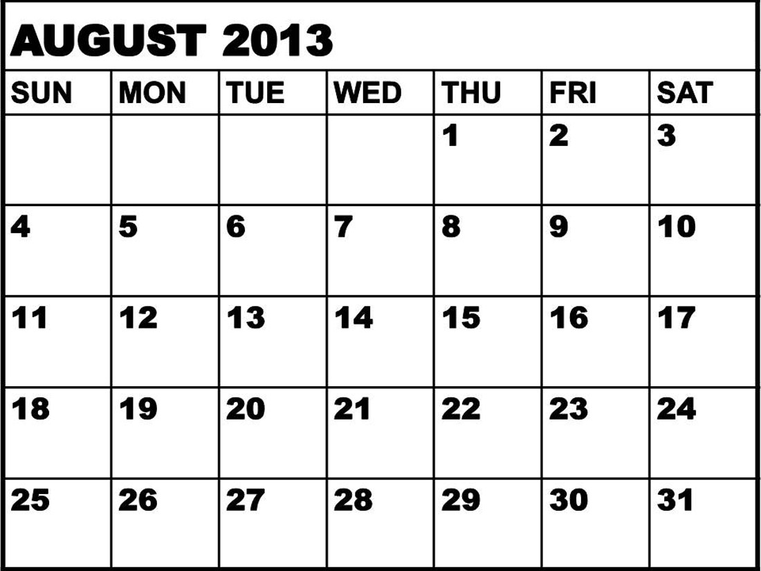 August 2013 calendar clipart svg black and white stock August 2013 calendar clipart - ClipartFest svg black and white stock