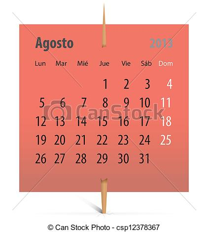 August 2013 calendar clipart vector free stock Clip Art Vector of Calendar for August 2013 in Spanish - Spanish ... vector free stock