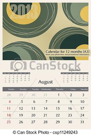 August 2013 calendar clipart vector free library EPS Vector of August. 2013 Calendar. Optima fonts used. A3 ... vector free library