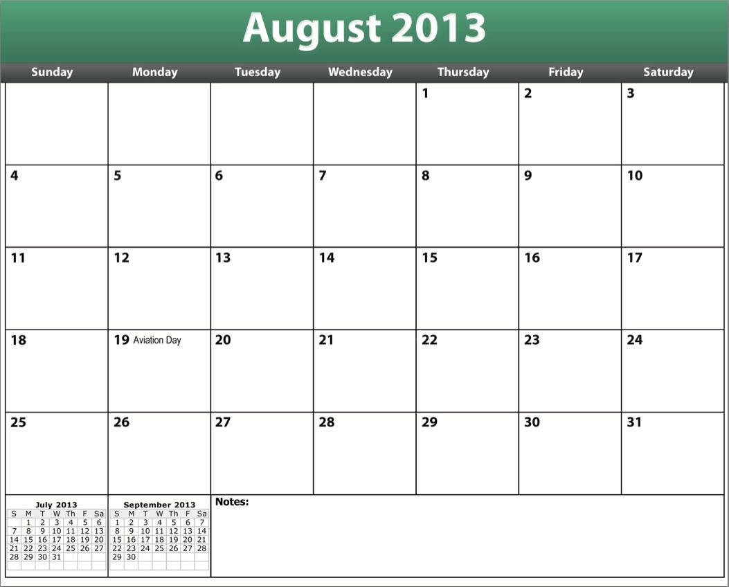 August 2013 calendar clipart. Printable template