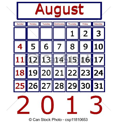 August 2013 calendar clipart clip art freeuse stock Stock Illustrations of August 2013 Calendar - August 2013 Calendar ... clip art freeuse stock