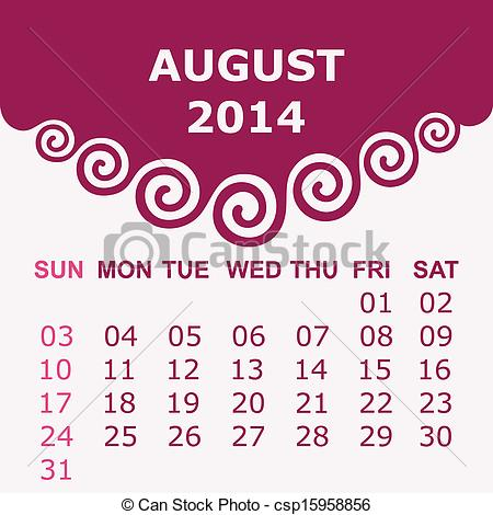August 2014 calendar clipart banner stock Clipart Vector of Calendar of August 2014 with spiral design ... banner stock