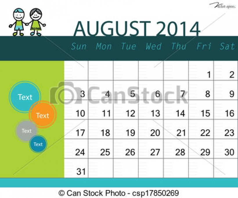 August 2014 calendar clipart clip black and white clip art vector of simple 2014 calendar august vector in august ... clip black and white