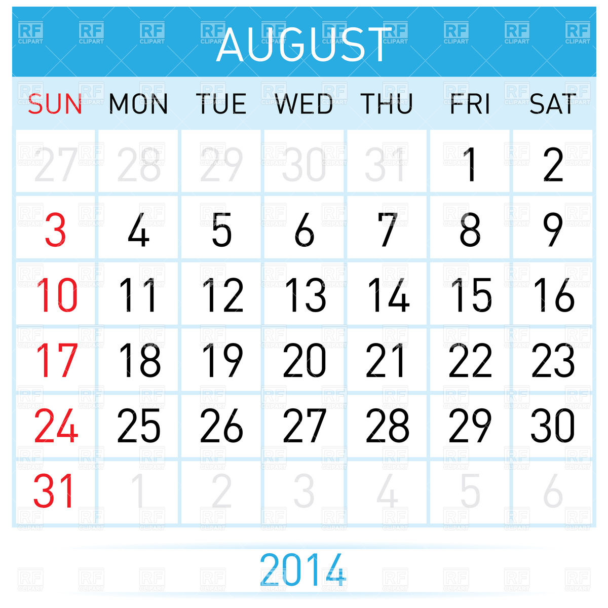 August 2014 calendar clipart banner black and white library August 2014 сalendar Vector Image #7012 – RFclipart banner black and white library