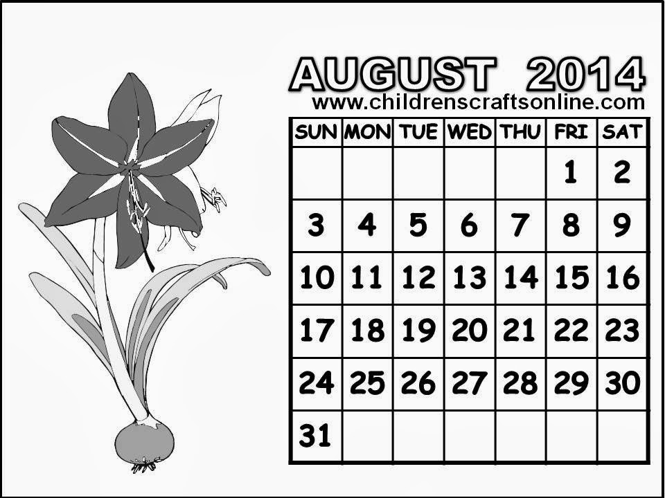August 2014 calendar clipart graphic download Free Arts and Crafts for Children: 8 Black and White August 2014 ... graphic download