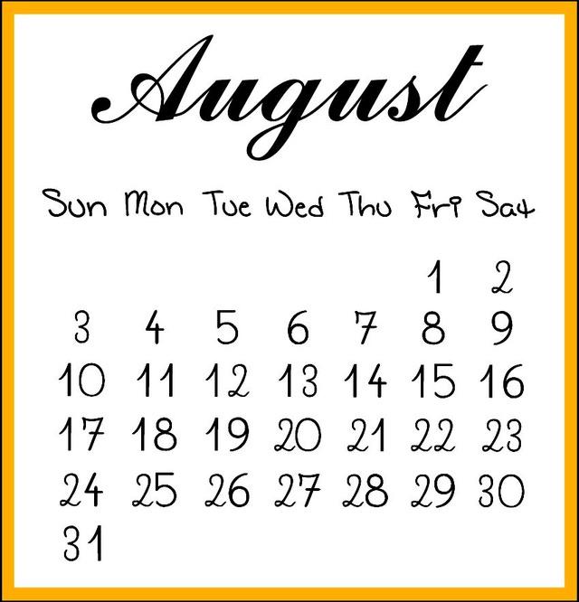 August 2014 calendar clipart svg transparent August 2014 clipart - ClipartFest svg transparent