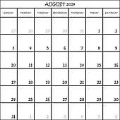 Clipartfox on transparent . August 2014 calendar clipart