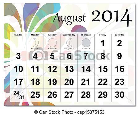 Clipartfest. August 2014 calendar clipart