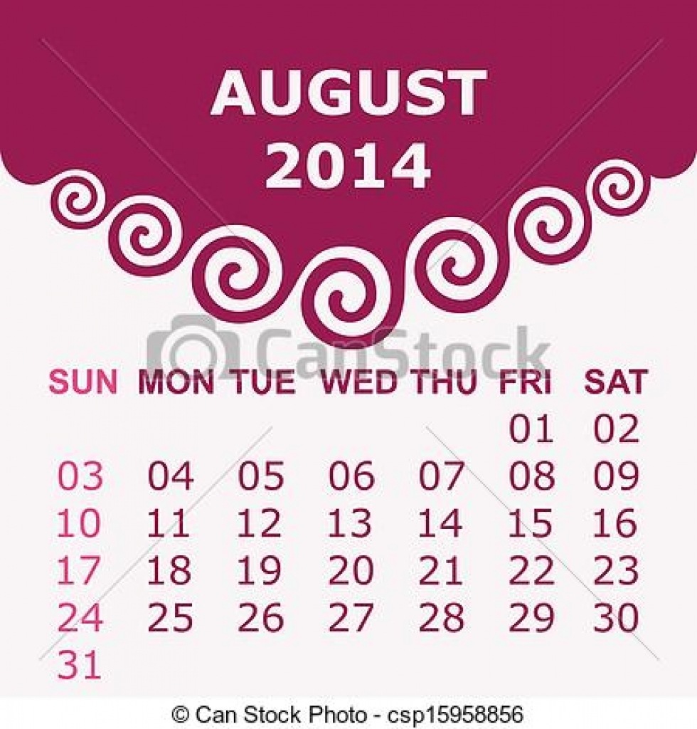 Vector of with spiral. August 2014 calendar clipart