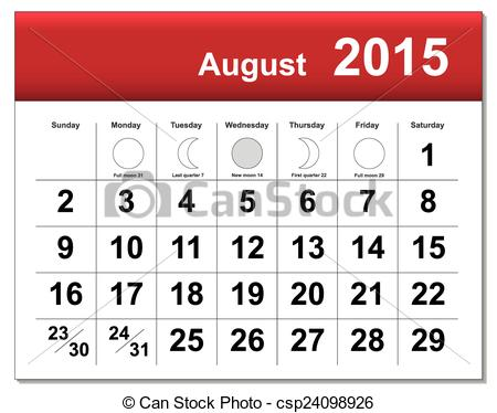 Clipartfest. August 2015 calendar clipart