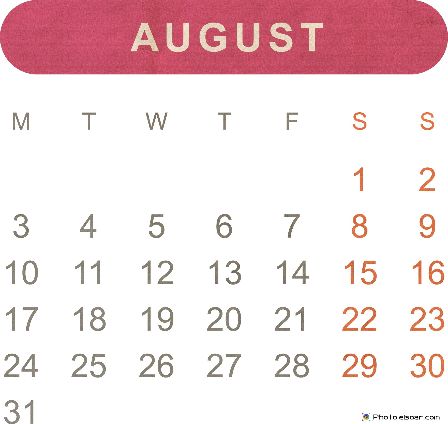 August 2015 calendar clipart. Free printable monthly jpeg