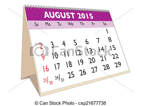 Illustrations and clip art. August 2015 calendar clipart