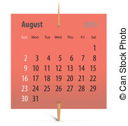 Vectors illustration of with. August 2015 calendar clipart