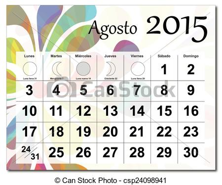 Eps vector of file. August 2015 calendar clipart