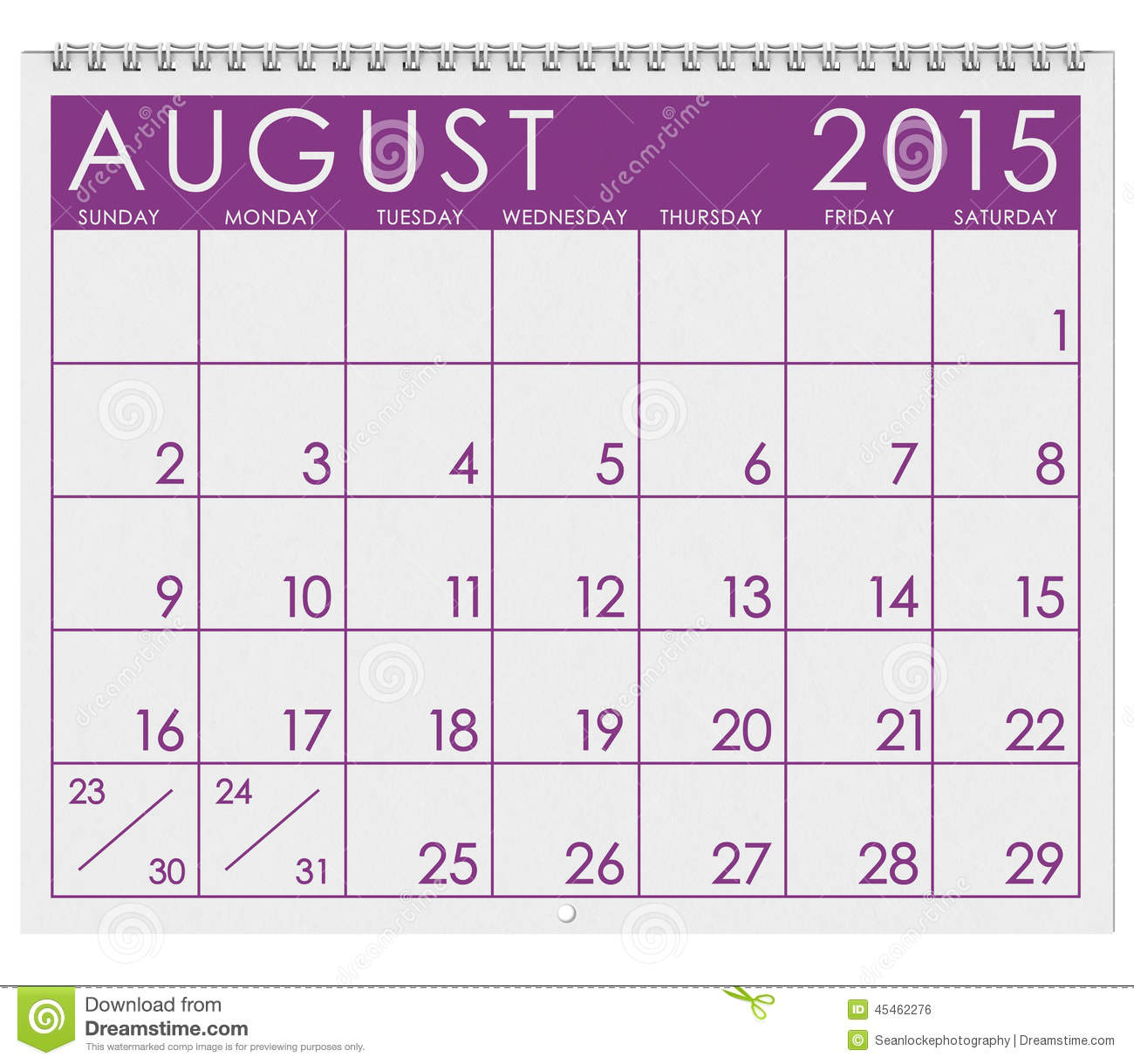 August 2015 calendar clipart.  month of stock