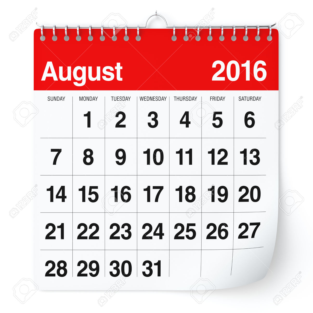 August 2016 calendar clipart clip art black and white download August 2016 - Calendar. Isolated On White Background. 3D Rendering ... clip art black and white download